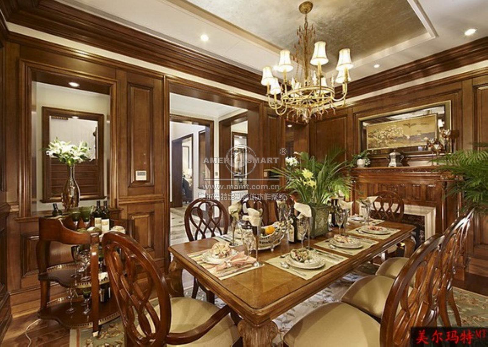 整体木作餐厅   整体木作系统应用产品包括:pu/木制天花吊顶系统,墙板